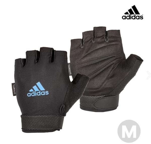 Adidas 可調式透氣短指訓練手套(藍)-M