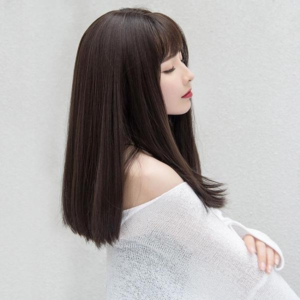 假髮女中長髮鎖骨髮空氣瀏海蓬松自然
