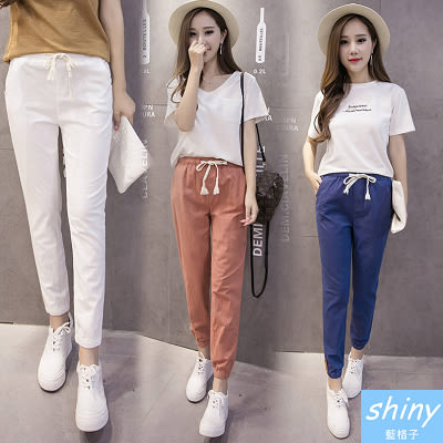 【V262】shiny藍格子-時尚范兒.亞麻薄款棉麻七分縮口休閒褲