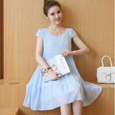 孕婦洋裝2019夏季新款雪紡韓國時尚孕婦寬鬆甜美減齡裙子DC295【野之旅】