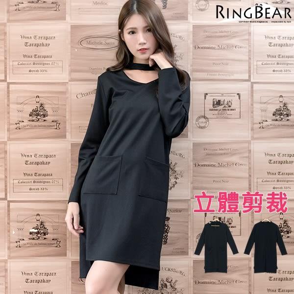 洋裝--簡約大方V領後拉鍊中長款領條扣雙口袋立體剪裁前短後長洋裝(黑XL-4L)-A229眼圈熊中大尺碼