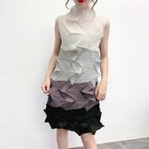 無袖洋裝-皺褶高彈力拼色不規則立領女連身裙4色73yf19【時尚巴黎】