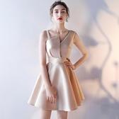 伴娘服 簡單大方氣場女王宴會晚禮服短款顯瘦聚會氣質晚會伴娘小禮服裙女 朵拉朵YC