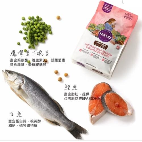 【培菓平價寵物網 】(送台彩刮刮卡*4張)HALO嘿囉》成貓燉食無穀低脂野生鮭魚燉豌豆鷹嘴豆6磅