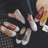 小白鞋女帆布鞋春季百搭韓版學生原宿ULZZANG平底懶人一腳蹬布鞋 酷男精品館