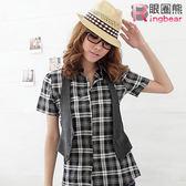 質感長版襯衫--亮麗休閒真兩件格紋長版襯衫+素面背心(黑.紅M-2L)-H64眼圈熊中大尺碼