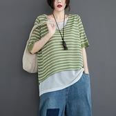 大碼衣著文藝大碼簡約8201#復古文藝夏季假兩件套上衣女裝冰絲棉麻薄款五分袖T恤女非A028依品國際