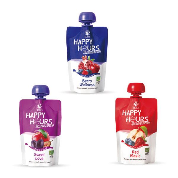 【買4送1蘋果果乾】美國 HAPPY HOURS 生機纖果飲/果泥/副食品 (3款可選)100g