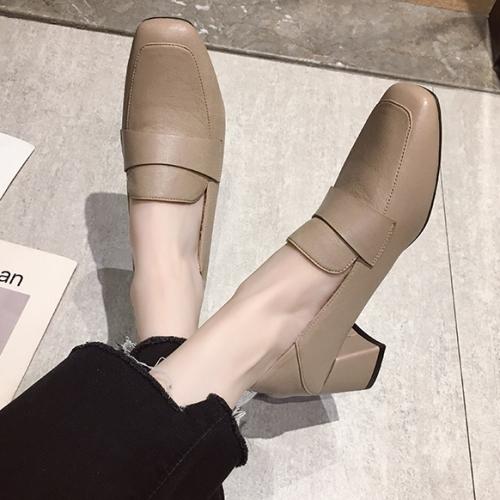 高跟鞋.韓版素面百搭一字條樂福粗跟包鞋.白鳥麗子