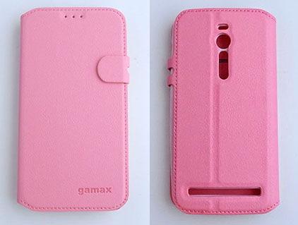 gamax ASUS ZenFone 2 手機 4G LTE(ZE551ML/ZE550ML) 5.5吋 磁扣荔枝紋側翻手機保護皮套 側立 商務二代