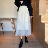 大擺裙 高腰半身裙秋冬女釘珠中長款大擺網紗半裙洋氣A字包臀裙-Milano米蘭