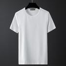 男士短袖t恤夏季冰絲純色速干圓領半袖打底衫冰感潮流體恤T 設計師