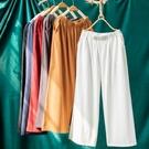 棉麻寬褲 棉麻寬管褲女夏寬鬆大碼學生七分九分休閒顯瘦亞麻直筒褲-Ballet朵朵
