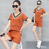 短袖短褲套裝 女夏季2019新款寬鬆顯瘦跑步運動服韓版兩件套潮JA6336『科炫3C』