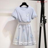 網紗連身裙女夏學院風裙子兩件套