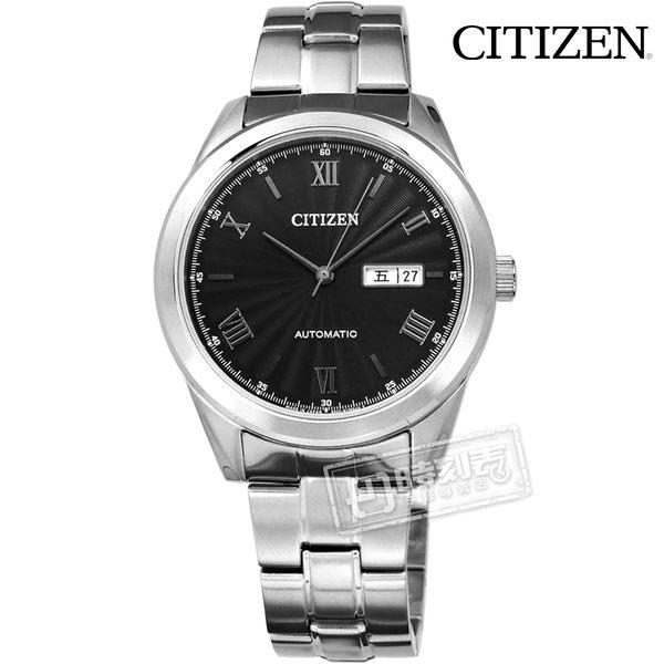 CITIZEN 星辰表 / NH7510-50E / 自動上鍊 日期 藍寶石水晶玻璃 日本製造 機械錶 不鏽鋼手錶 黑色 41mm