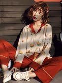 宮蝶春秋季睡衣女長袖薄款兩件套裝全純棉可外穿韓版草莓家居服冬 鹿角巷