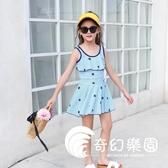 女童泳衣中大童學生少女12-15歲兒童韓國可愛公主裙式時尚游泳裝-奇幻樂園