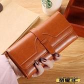 長夾 女士錢包女長款2021新款時尚多卡位復古大容量三折手拿包可放手機 榮耀3C