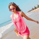純色網紗性感連身式泳衣(M/L/XL) 附襯墊