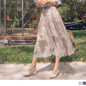 《CA2038-》臧芮軒。滿版幾何拼色圖樣印花百褶鬆緊修身中長裙 OB嚴選
