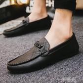 春季男生黑色休閒個性豆豆鞋男學生潮流鞋子社會懶人鞋男 一米陽光
