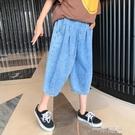 女童牛仔七分褲2021夏裝新款兒童洋氣寬鬆褲子中大童薄款牛仔褲潮 一米陽光
