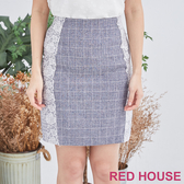 【RED HOUSE 蕾赫斯】蕾絲格紋合身短裙(藍色) 任選2件899元