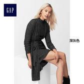 Gap女裝 舒適時尚羅紋中長款長袖開衫 906666-深灰色