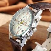 時尚休閒羅馬字面側假三眼PU皮質手錶 129元
