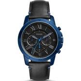 【台南 時代鐘錶 FOSSIL】FS5342 羅馬時標沉穩風格計時腕錶 皮帶 藍鋼/黑 44mm 公司貨開發票
