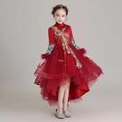 女童漢服長袖拜年服兒童中國風復古唐裝秀禾服女孩古箏演出服 快速出貨