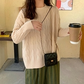 麻花套頭毛衣女寬鬆外穿百搭針織衫上衣【少女顏究院】