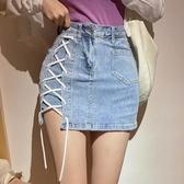 夜店辣妹短褲 夏季性感高腰顯瘦綁帶開叉牛仔半身裙防走光裙子 降價兩天