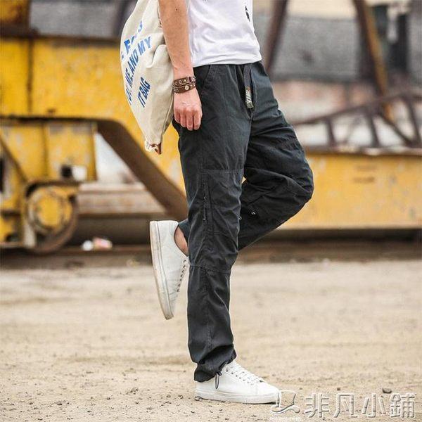 工裝褲 工裝褲薄款多口袋棉質褲子大碼休閒寬鬆中腰直筒長褲   非凡小鋪