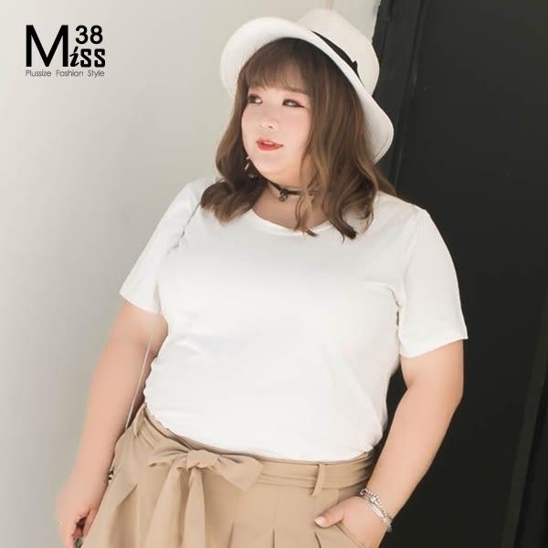 Miss38-(現貨)【A04708】大尺碼T恤 短袖上衣 百搭基本款 圓領多色 純棉純色 彈力內搭 -中大尺碼