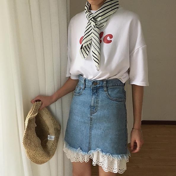 [超豐國際]夏季蕾絲拼接牛仔半身裙女中裙高腰顯瘦包臀裙修身百1入