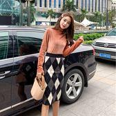 大韓訂製洋裝兩件秋冬韓絨面保暖打底衫t恤菱格半身裙套裝