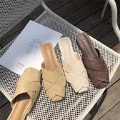 草编鞋 韩版复古藤草编织网格方头低跟平底包头半拖鞋女夏外穿粗跟穆勒鞋 玫瑰