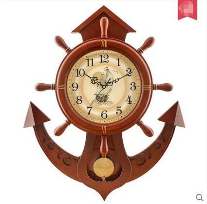 歐式實木鐘錶現代大號船舵時鐘創意地中海石英鐘
