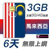 馬來西亞 6天 前3GB支援4G高速 無限上網 插卡即用