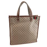 【奢華時尚】GUCCI 綠紅綠布標防水PVC咖啡皮邊方形購物包(九成新)#24069