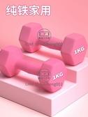 啞鈴女士健身家用實心純鐵舉重杠鈴兒童練臂肌套裝組合器材1kg2kg【輕派工作室】