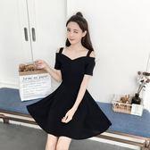 夏季新款小清新露肩洋裝夏女裝韓版修身顯瘦氣質a字裙子 草莓妞妞