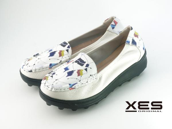 XES 幾何旗幟彩圖休閒鞋 女款 白色