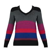 【南紡購物中心】Tommy Hilfiger 經典刺繡標誌條紋長袖V領針織毛衣-黑