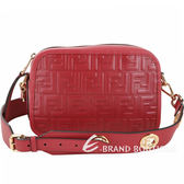 FENDI FF LOGO浮雕小牛皮鏤空金屬背帶相機包(紅色) 1930028-54