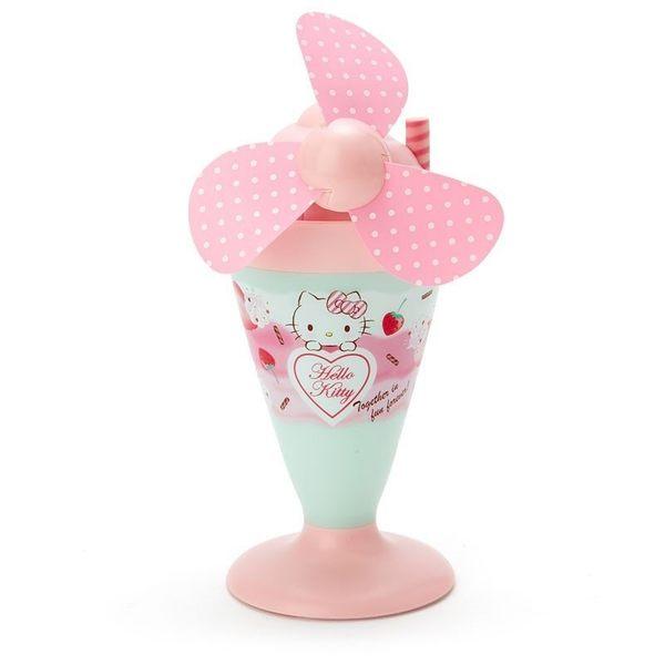 〔小禮堂〕Hello Kitty 軟葉片冰淇淋造型電池式隨身風扇《粉綠》立扇.手持電風扇 4901610-45653