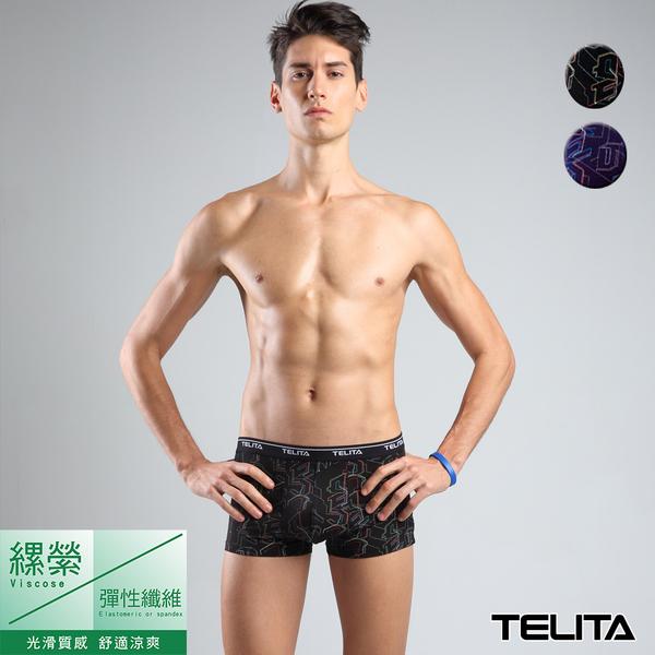 男內褲【TELITA】電路版圖騰嫘縈平口褲 四角褲