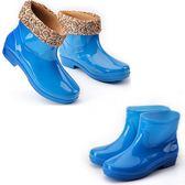 秋冬季保暖雨鞋女士中筒雨靴四季防滑防水塑膠鞋棉鞋短筒絨棉水鞋    歐韓時代